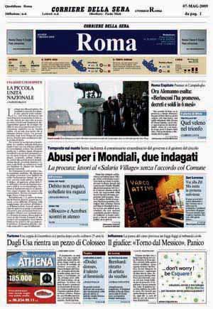 La prima pagina del Corriere della Sera del 7 maggio